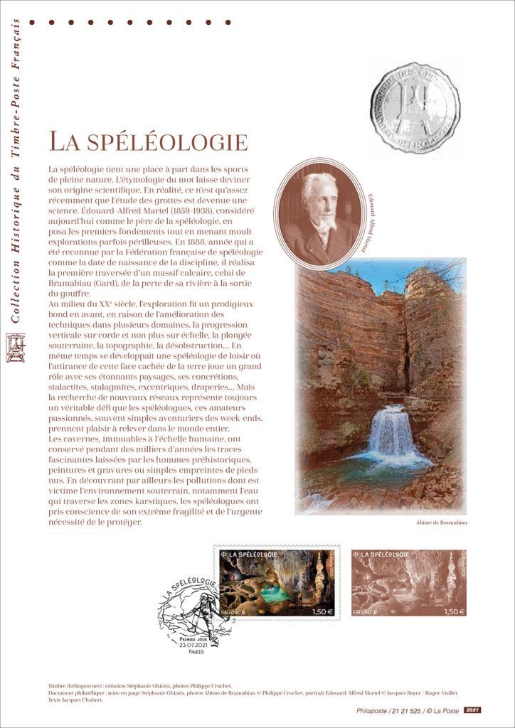 26/07/21 : La Poste émet un timbre sur la spéléologie. Livret la spéléologie